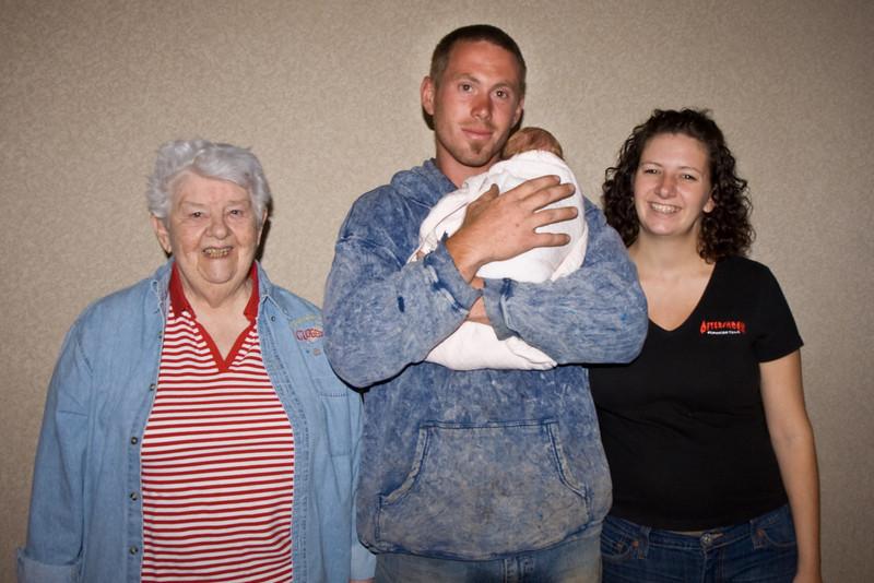 Heather and Aidan Vaughan with newborn Fiona and grandma.
