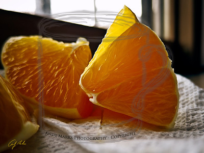 So tough an orange I sliced it to eat it. But not before catching its glistening edges.