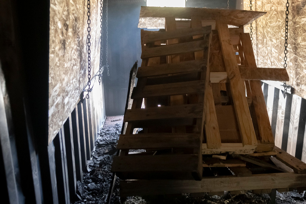. Fire crews burned pallets of wood to show the efficacy of a closed bedroom door saving lives during a controlled burn.
