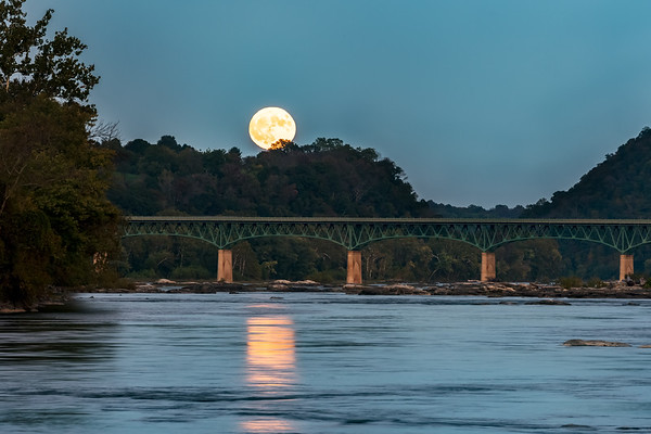 Full Moon Rising Over Bridge