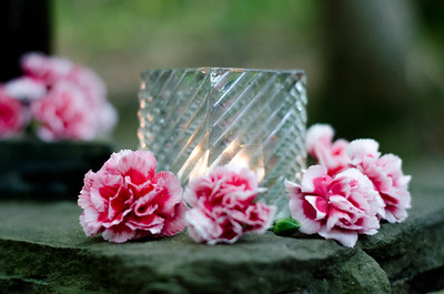 Yoga Retreat Candle and Flowers