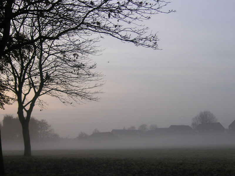 A ghostly icy fog smothers the pitches of Kneller Gardens just before dusk on a cold December afternoon.