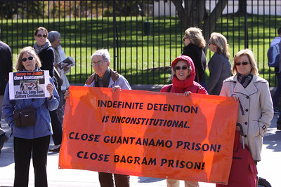 We were back in front of the White House Friday at the weekly Catholic Worker peace vigil and to close Guantanamo.