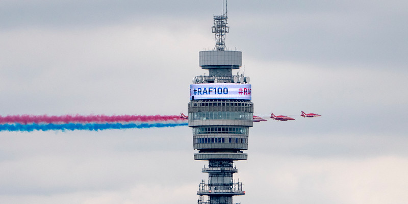 RAF 100th Anniversary Flypast in London, The Red Arrows