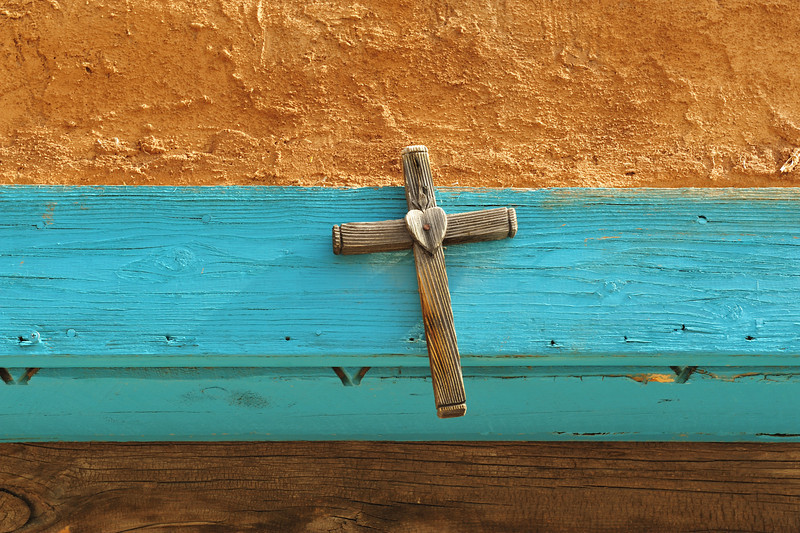Wooden Cross on Church in Taos, New Mexico