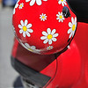 Red Scooter Helmet in Trieste, Italy