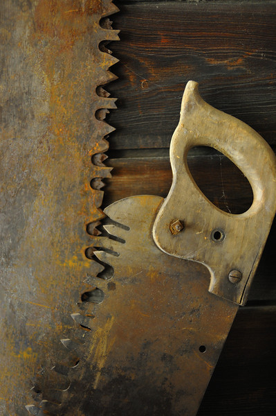 Saws Hanging On Cabin Wall