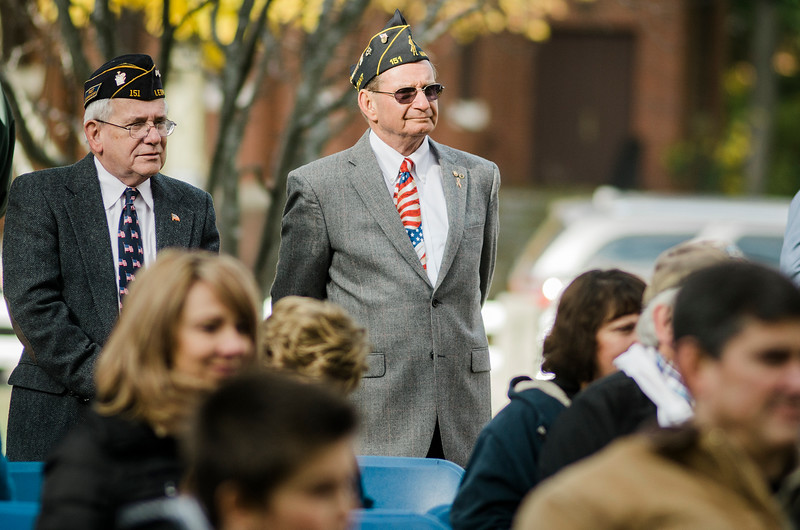 "Veterans listen in to the ceremonies at Carter Park during the final day of ""The Wall That Heals"" in Leominster on Saturday afternoon. SENTINEL & ENTERPRISE / Ashley Green"