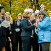 """Claire Freda, Leominster City Councilor and Gold Star Wife, receives a pin during a presentation by the Daughters of the American Revolution at Carter Park during the final day of """"The Wall That Heals"""" in Leominster on Saturday afternoon. SENTINEL & ENTERPRISE / Ashley Green"""