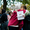 """Phyllis Yelle and Valorie Reed greet each other at Carter Park during the final day of """"The Wall That Heals"""" in Leominster on Saturday afternoon. SENTINEL & ENTERPRISE / Ashley Green"""