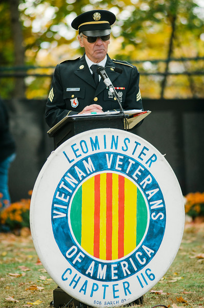 """Richard Early, Master of Ceremonies, speaks at Carter Park during the final day of """"The Wall That Heals"""" in Leominster on Saturday afternoon. SENTINEL & ENTERPRISE / Ashley Green"""