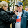 "Navy Veteran Fred Brassard receives a Vietnam Veteran pin at Carter Park during the final day of ""The Wall That Heals"" in Leominster on Saturday afternoon. SENTINEL & ENTERPRISE / Ashley Green"