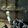 """POW/ MIA flags on display in front of the names of fallen loved ones at Carter Park during the final day of """"The Wall That Heals"""" in Leominster on Saturday afternoon. SENTINEL & ENTERPRISE / Ashley Green"""