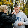 "Navy Veteran Frank Ardinger receives a Vietnam Veteran pin at Carter Park during the final day of ""The Wall That Heals"" in Leominster on Saturday afternoon. SENTINEL & ENTERPRISE / Ashley Green"