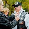 "Navy Veteran Gary Frechette receives a Vietnam Veteran pin at Carter Park during the final day of ""The Wall That Heals"" in Leominster on Saturday afternoon. SENTINEL & ENTERPRISE / Ashley Green"