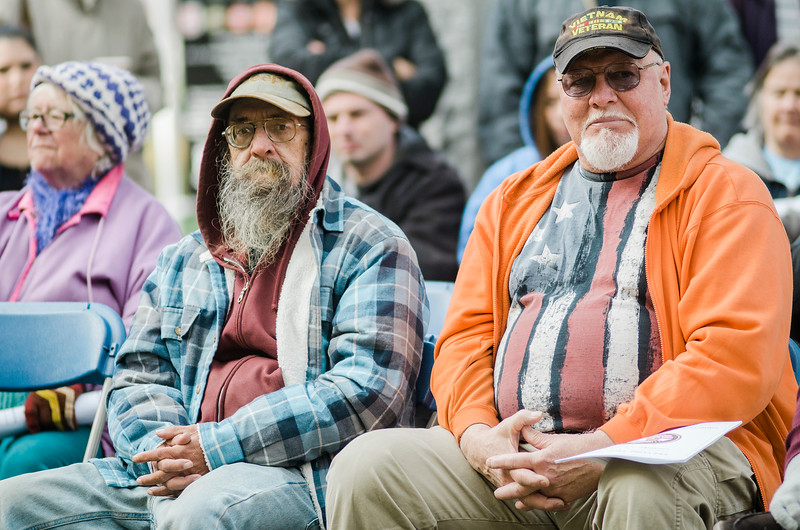 """Veterans listen in to the ceremonies at Carter Park during the final day of """"The Wall That Heals"""" in Leominster on Saturday afternoon. SENTINEL & ENTERPRISE / Ashley Green"""