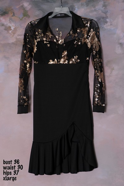 black dress with gold top (1)