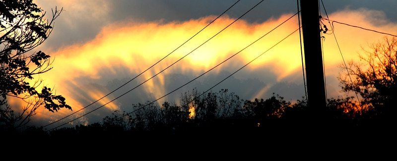 The sun just rising and shining through the tree line in the background onto fog rising off a creek. Darn power poles : (