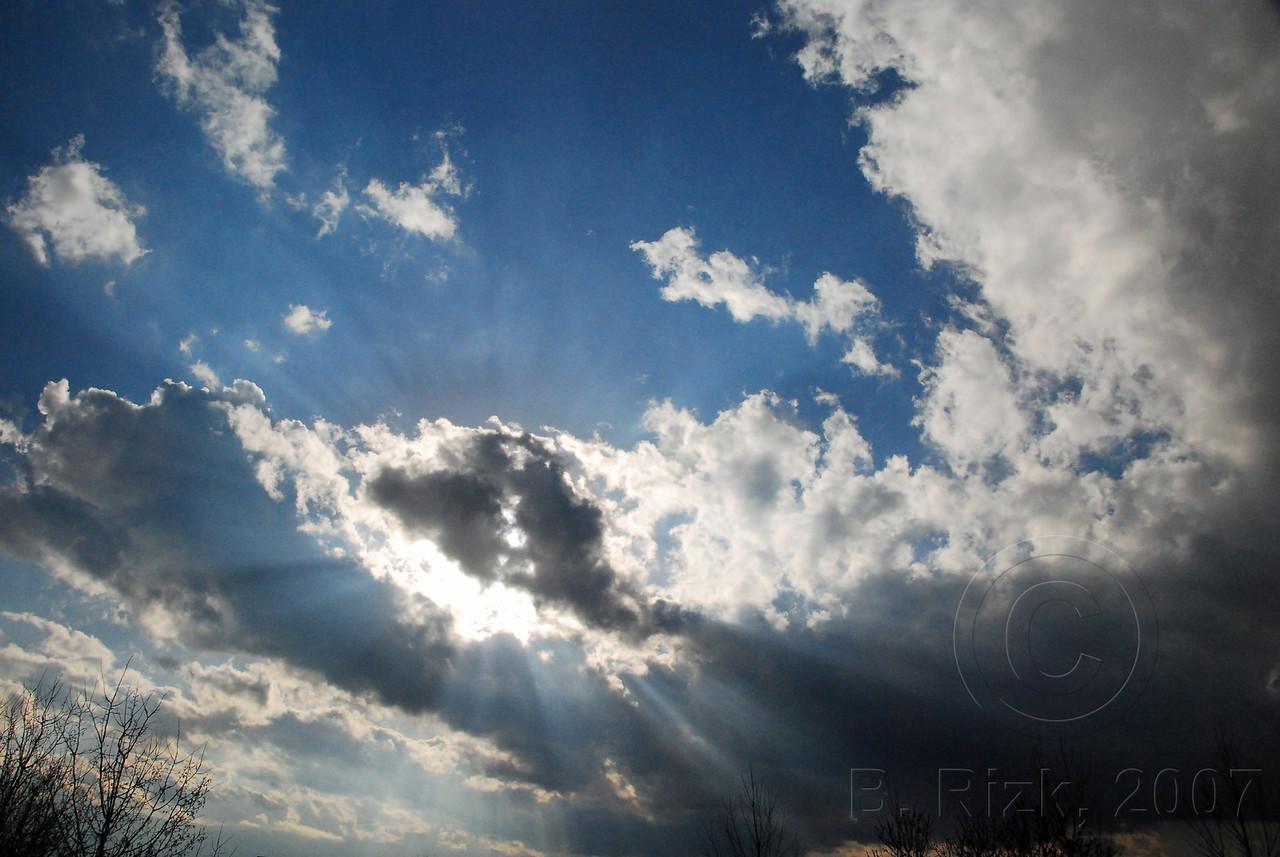 Sun  Rays over Pikes Peak