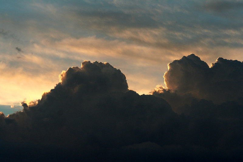 Cumulus formation over Reids Flat, New South Wales, at sunset.