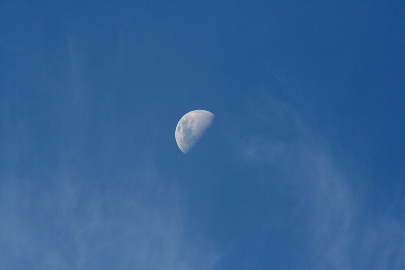 Half moon with wisps of cloud, Reids Flat, New South Wales.