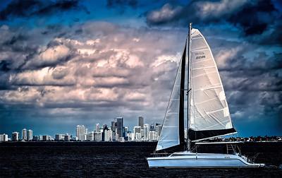 Sailing off Miami