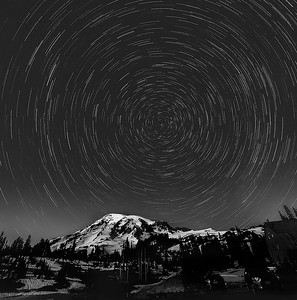 Star Trails Over Mt Ranier