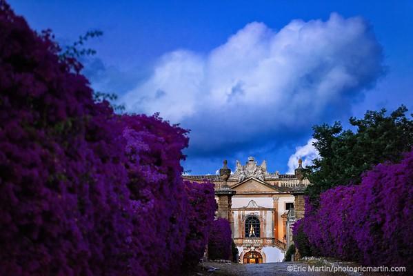 SICILE. OUVERTURE CLUB MED CEFALU. La Villa Valguarnera de la pricesse Vittoria Alliata di Villafranca à Bagheria