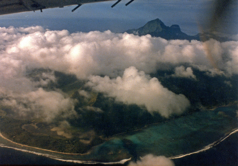 Approaching Bora Bora on Air Tahiti