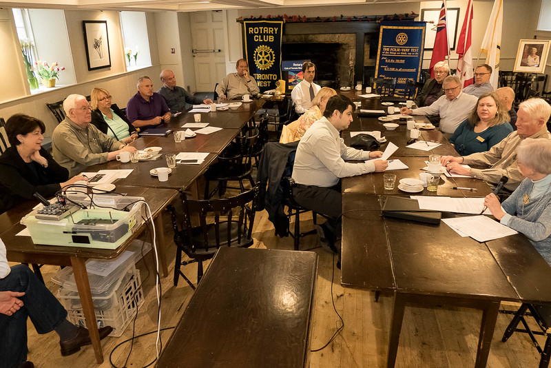 Each participant briefed our club members, shown here in our regular Thursday morning  meeting room in the historic Montgomery's Inn.