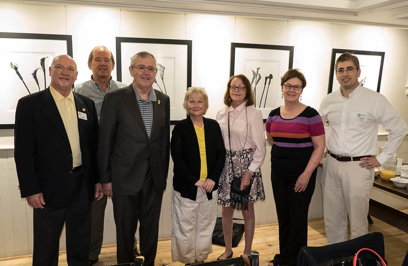"""RTW President Brian Spencer (left rear) welcomes the Rotary Club of Parkdale-High Park members who joined us to hear their fellow """"Charter"""" member Dave Lockhart  speak on the PACT program.  L-R: Scott Bartle, Don S, Robin, Patty L, Cathy B, Paul P."""