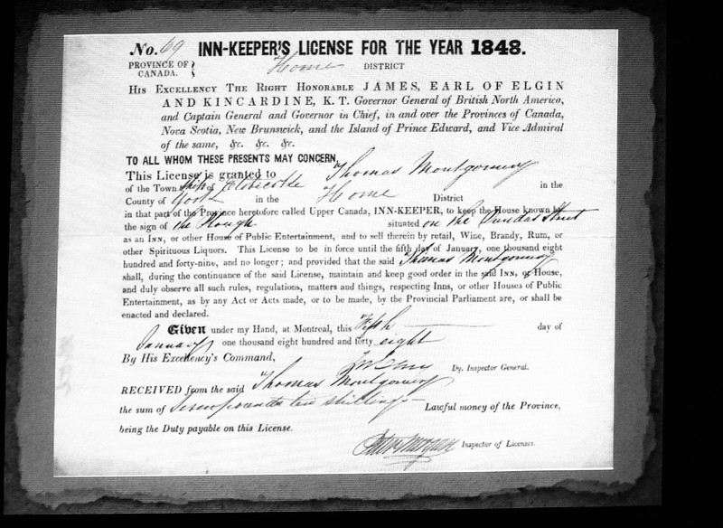 This license was granted in 1848 to Thomas Montgomery to operate the building as an Inn and House of Public Entertainment.