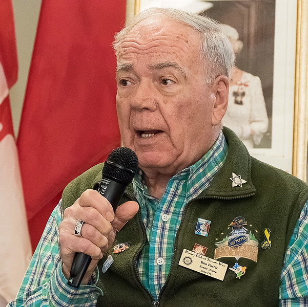 """Our """"most senior"""" member (but still young at heart)  Don F, spoke of what led him to become a Rotarian."""