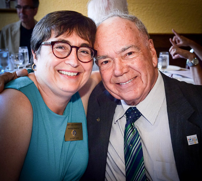 Assistant District Governor Mary Lou Harrison with her father Don Foster, our Club's longest standing member. (joined  Rotary 56 years ago in 1961!)