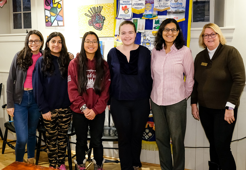 Local students dropped by before classes to enjoy a quick breakfast and experience a typical Rotary meeting. (L-R) Camila, Darrab, Claire Neilson, Rose S, Saira K (ECI teacher) and Patti W - RTW Interact/Rotaract advocate.