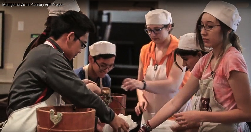 Youth seen here participating in a culinary project in the Montgomery's Inn kitchen.