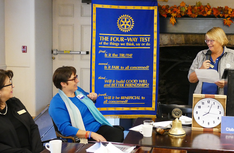 It was a warm welcome for Mary Lou, recognizing all her past achievements and efforts in Rotary and elsewhere.