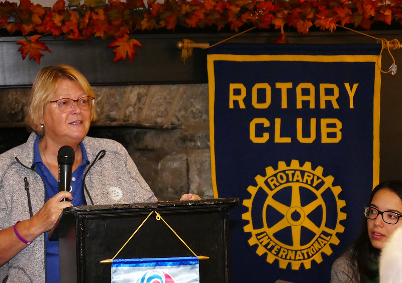 Past President and Assistant Governor - District 7070  Patti Wright introduced  DG Mary Lou Harrison.
