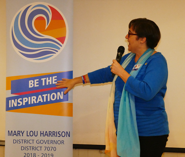 """Mary Lou  spoke of this year's Rotary Theme """"Be The Inspiration"""" not only as individuals, but as a Club and at the District level."""