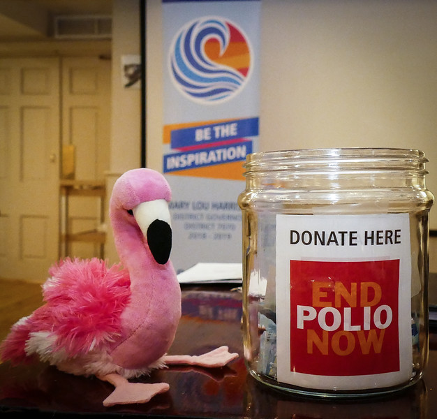Patti passed the END POLIO NOW jar around to collect for the all important fight against polio.