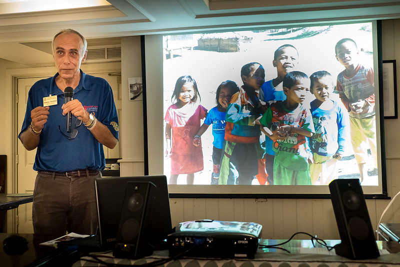 Guest Speaker Steve Rutledge began his slide show with an overview of the project  and  the difficult conditions that arose during and following the 1960's Vietnam war which decimated the country with over 78 million bombs. Many remain scattered throught the countryside, leaving a dark and deadly legacy.