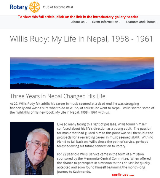 Willis Rudy - Nepal article