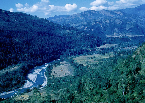 Another view with a river in the valley. There are many rivers flowing north to south. Trekking involves crossing many of these rivers and streams.