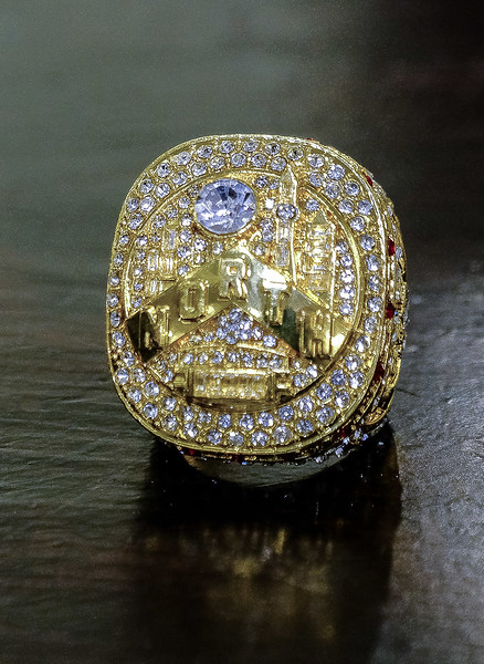 Here is a closeup of the gold replica  of the Championship Ring which Jane received, no doubt due to her long time passion for the Raptors