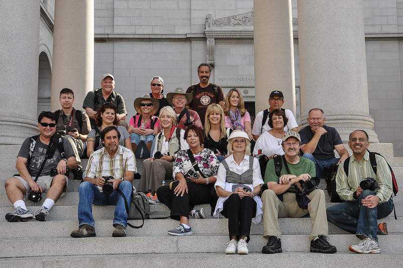 South County Photo Club members on the steps of Los  Angeles City Hall.