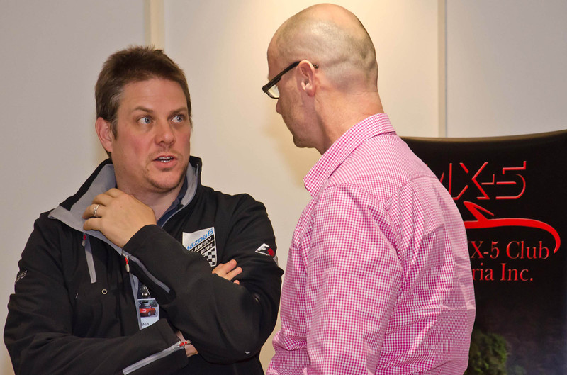 Ben Rounsefell, Mazda Australia Loyalty Manager, with Alistair Dennis