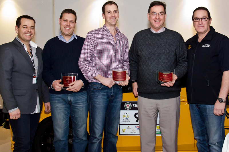 Joint 2012-13 Motor Sport Champions (l-r) Robert Hart, Stephen Downes and Noel Heritage, flanked by Daniel White (left) and Eugene Arocca