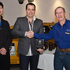 "Neil Choi (left), AROCA competition secretary and Ross Flood (right), AROCA president, present Daniel White (Club Captain - Motor Sport) with the Alfa Club's ""Most Supportive Organisation"" award"