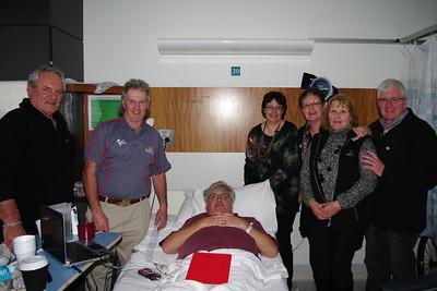 Lockie Story receives a visit in the Austin from Western Vic Chapter members Alan Everett, Ian & Karen Bradshaw, Noellene Gleeson, Dawn Everett and John Gleeson
