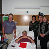 Lockie Story receives a visit in the Austin from Western Vic Chapter members Alan Everett, Ian & Karen Bradshaw, Noellene Gleeson, Dawn Everett and John Gleeson